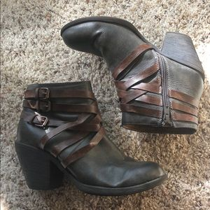EuroSoft Grey + Brown Strappy Ankle Boots